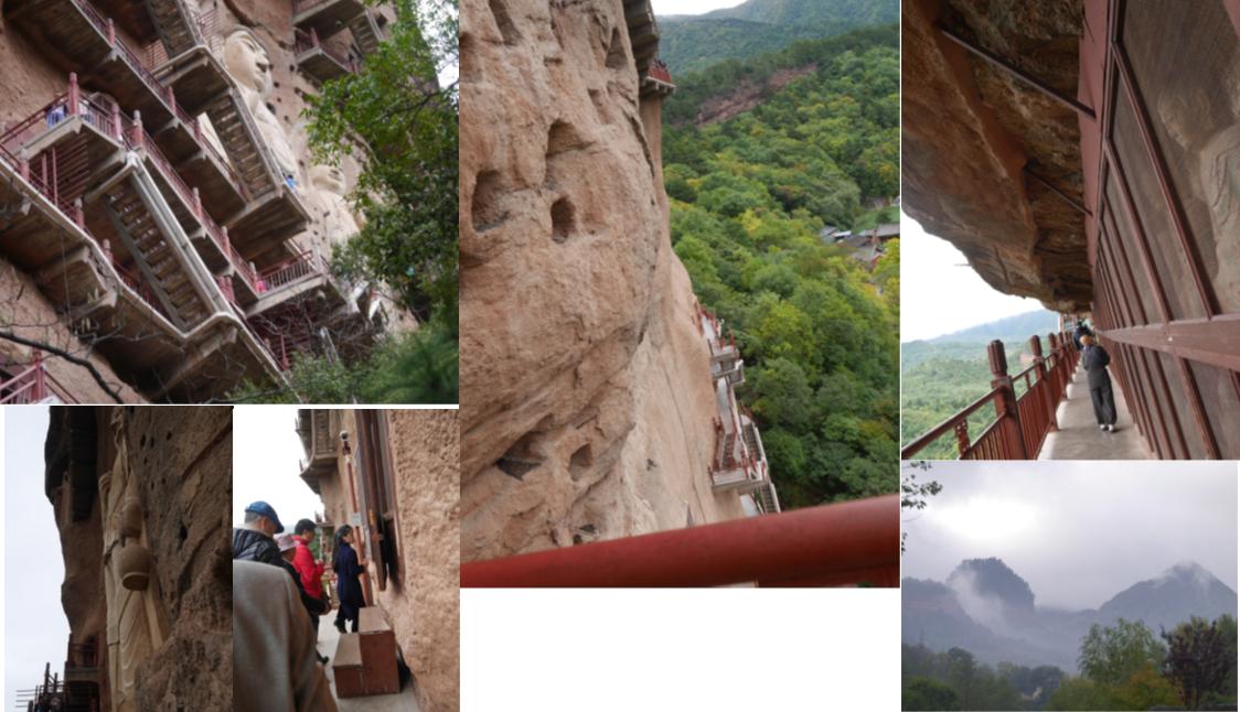 中国河西回廊石窟寺院を訪ねて B 麦積山 岩壁